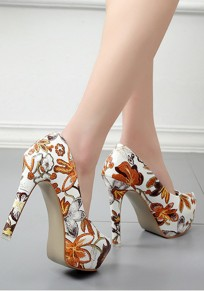 Beige Round Toe Stiletto Floral Print Fashion High-Heeled Shoes
