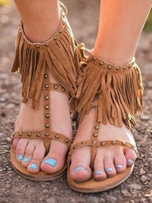 Brown Round Toe Flat Rivet Tassel Fashion Ankle Sandals