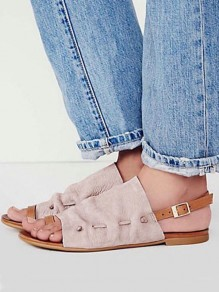 Beige Round Toe Flat Cut Out Fashion Ankle Sandals