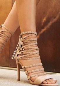 Beige Round Toe Stiletto Lace-up Fashion High-Heeled Sandals