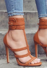 Brown Round Toe Cut-out Fashion High-Heeled Sandals