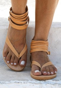 Yellow Round Toe Flat Cut Out Fashion Ankle Sandals