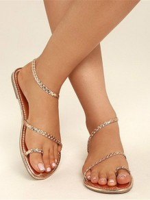 Golden Chian Sparkly Round Toe Flat Casual Boho Ankle Sandals