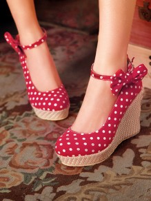 Red Round Toe Wedges Bow Sweet High-Heeled Shoes