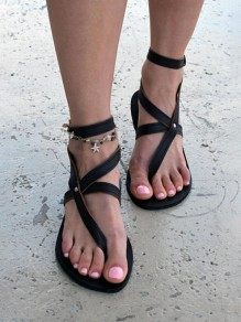 Black Round Toe Flat Cut Out Fashion Ankle Sandals