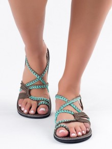 Green And Grey Round Toe Braided Strap Fashion Ankle Sandals