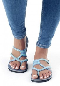 Sky Blue Round Toe Flat Cut Out Fashion Ankle Sandals