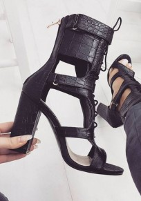 Black Round Toe Chunky Cut-out Fashion High-Heeled Sandals