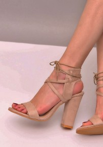 Apricot Round Toe Chunky Lace-up Fashion High-Heeled Sandals