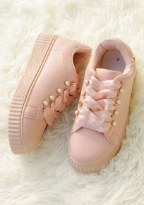 Pink Round Toe Flat Pearl Casual Shoes