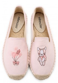 Pink Round Toe Flat Embroidery Casual Shoes