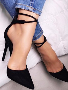 Black Point Toe Stiletto Cross Strap Casual High-Heeled Shoes