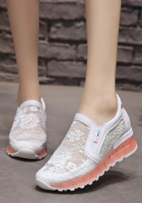 White And Red Embroidery Butterfly Lace Fashion Ankle Shoes