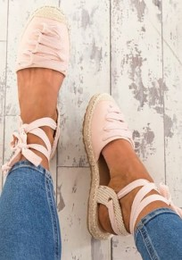 Pink Round Toe Lace-up Fashion Ankle Sandals