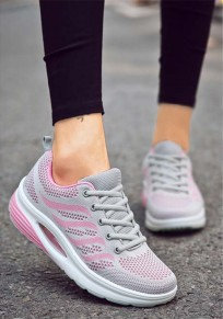 Grey And Pink Round Toe Flat Casual Heavy-Soled Shoes