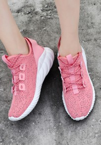 Pink Round Toe Flat Cut Out Casual Shoes