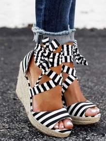 Black And White Round Toe Lace-up Wedges Fashion High-Heeled Sandals