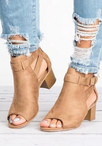 Brown Round Toe Chunky Cut Out Fashion Ankle Sandals