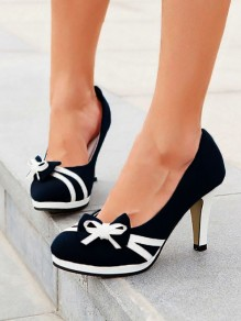 Black Round Toe Chunky Bow Sweet High-Heeled Shoes