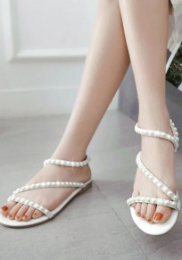 White Round Toe Pearl Fashion Ankle Sandals