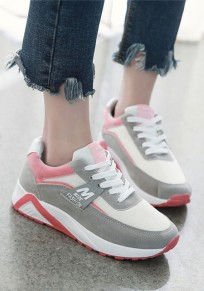 Grey And Pink Round Toe Lace-up Casual Ankle Shoes