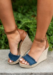 Blue Round Toe Wedges Fashion Ankle Sandals