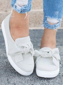 White And Grey Round Toe Flat Bow Fashion Shoes