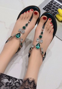 Green Round Toe Rhinestone Casual Ankle Sandals