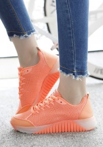 Orange Round Toe Lace-up Casual Ankle Shoes