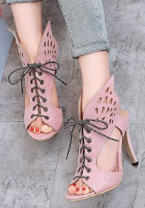 Pink Piscine Mouth Stiletto Cross Strap Cut Out Fashion High-Heeled Sandals