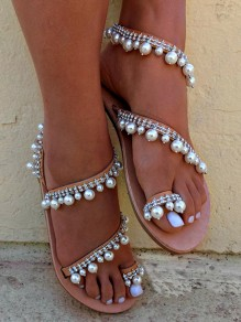 Brown Round Toe Flat Pearl Fashion Ankle Sandals