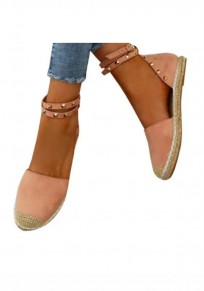 Pink Round Toe Rivet Fashion Ankle Shoes