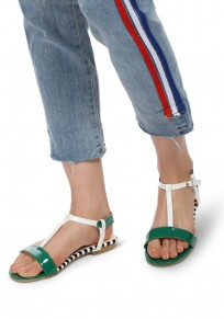 Green Round Toe Patchwork Fashion Ankle Sandals