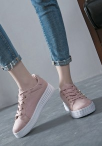 Pink Round Toe Pearl Lace-up Fashion Ankle Shoes