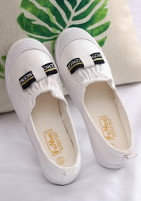 White Round Toe Flat Casual Shoes