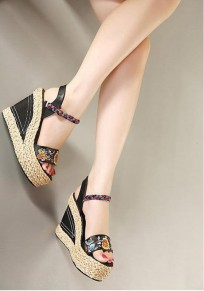 Black Round Toe Wedges Embroidery Fashion High-Heeled Sandals