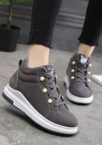 Grey Round Toe Pearl Lace-up Fashion Ankle Shoes