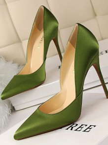 Green Point Toe Stiletto Patchwork Fashion St.Patrick's Day High-Heeled Shoes