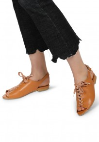 Brown Piscine Mouth Flat Fashion Ankle Sandals