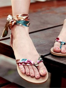 Blue Round Toe Flat Print Fashion Ankle Sandals