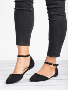 Black Round Toe Casual Ankle Sandals