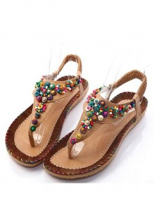 Brown Round Toe Flat Beads Fashion Sandals
