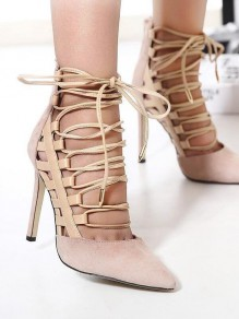 Apricot Point Toe Stiletto Cross Strap Fashion High-Heeled Sandals