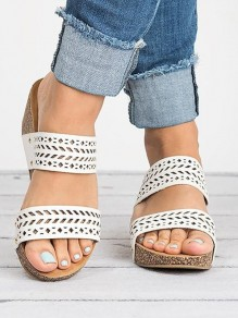 White Round Toe Wedges Casual High-Heeled Sandals