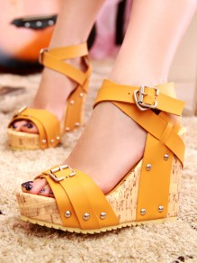 Yellow Round Toe Wedges Buckle Fashion High-Heeled Sandals