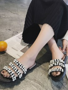 Black Round Toe Pearl Fashion Ankle Sandals