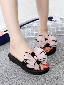 Pink Round Toe Bow Fashion Ankle Sandals
