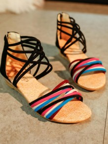 Black Round Toe Wedges Cross Strap Fashion Low-Heeled Sandals