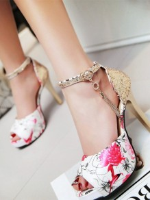 White Round Toe Sequin Fashion High-Heeled Shoes