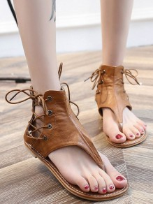 Yellow Round Toe Flat Cross Strap Fashion Ankle Sandals
